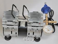 Twin Piston Oil-less Vacuum Pump 5.5CFM 3/4HP Cow Goat Milker Pulsator+Regulator