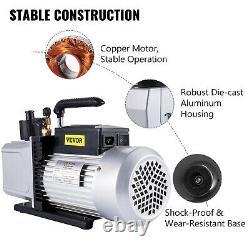 VEVOR 12CFM Vacuum Pump Double Stage Rotary Vane Refrigerant Air Conditioning