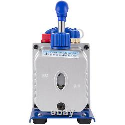 VEVOR 4 CFM Vacuum Pump Rotary Vane A/C Manifold Set (R134a), 1/4HP HVAC + R134A