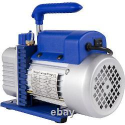 VEVOR 4CFM 1/4HP Rotary Vane Vacuum Pump R134A Manifold Gauge Tester Hoses