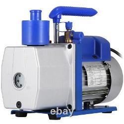Vacuum Pump 7CFM 1 Stage 1/2HP Rotary Vane VEVOR AC Black New Deep Air HVAC