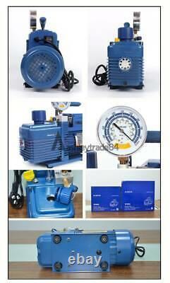 Vacuum Pump 8.5CFM 2Pa 4L/s Anti-reflux Rotary Vane 3/4HP 1 Stage Refrigeration