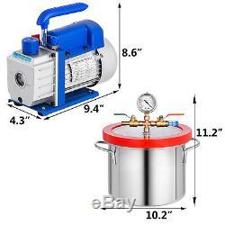 1.5 Gallon Chambre Vide Et 3,6 Cfm Unique Pompe À L'étape Dégazage Silicone