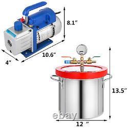 2 Chambre De Dégazage Sous Vide De Silicone Gallon Kit 3 Cfm Pompe À Vide 1 Etape 54l / Min