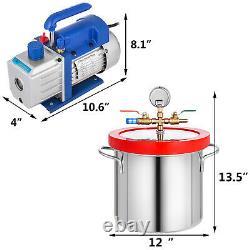 2 Gallon Chambre Vide Et 4 Cfm Étape Simple Pompe Dégazage Silicone Kit 1 / 3hp