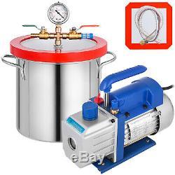 2 Gallon Vide Chambre Dégazage Kit Silicone Et 3 Pompe À Vide Cfm 1 Étape