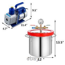 2 Gallons Aspirateur Chambre Dégazage 5cfm Pompe À Vide 1 / 3hp 1720rpm En Acier Inoxydable