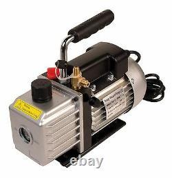 3.0 Cfm Professional A/c Vacuum Pump Twin Port 2 Étape A/c Nouveau Expédié Avec De L'huile