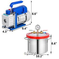 3 Cfm Pompe À Vide + 1 Gallon Vacuum Manifold Chambre 220ml Dégazage Gros