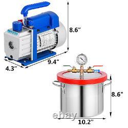 3 Cfm Refrigerant Vacuum Pump 1 Gallon Vacuum Chamber Silicone Cvac 1/4hp 220ml