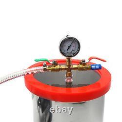 3 Gallon Chambre À Vide De Dégazage De Silicone Ensemble 3cfm Pompe Une Étape 1/4hp Kit