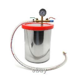 3 Gallon Chambre À Vide De Dégazage Silicone & 3cfm Pompe Monophasée Air Ac Kit