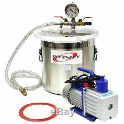 3 Gallon Chambre Vide Avec 2,5 Cfm À Un Étage Pompe À Dégazage Kit Silicone