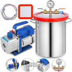 3 Gallon Vide Chambre Dégazage Silicone Et 3cfm Étape Simple Pompe À Air Ac Kit