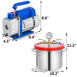 3cfm Pompe À Vide 1,5 Gallons Sous Vide La Chambre 1-stage Dégazage Silicone 5 Pa