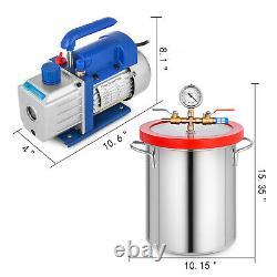 3cfm Pompe À Vide 3 Gallon Vide Chambre En Acier Inoxydable Simple Étape 1 / 4hp