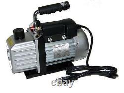 3cfm Rotary Vane Deep Vacuum Pump 1/4hp Ac R410a R134a-r12/r22 Réfrigérant Hvac