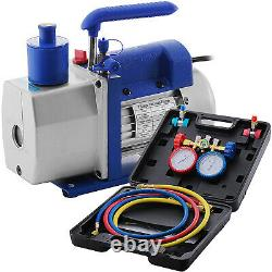 4.8 Cfm 1/3hp Pompe À Vide Cvac Réfrigération Ac Manifold Gauge Set R22 R134a