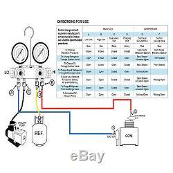 4.8cfm Pompe À Vide 4valve Manomètre R410a R134a Ac Hvac Set R22 Réfrigérant