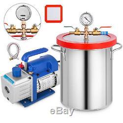 4 Cfm 2 Etape Pompe À Vide 3 Gallon Vide Kit Silicone Chambre Dégazage