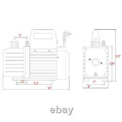 4cfm 1/3hp Pompe À Vide D'air Hvac Kit De Réfrigération Ac Manifold Gauge Set R134