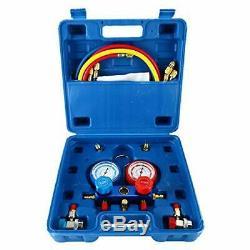 4cfm 1 / 3hp Rotary Vane Air Pompe À Vide Hvac A / C Refrigeration Kit Jauge Ac Set C