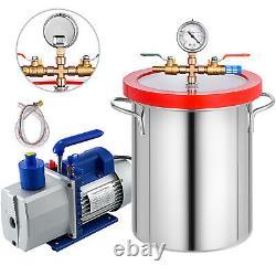 5 Gallon Chambre À Vide 7cfm Pompe À Vide 2 Étapes Air Conditionné Rotary 3/4hp