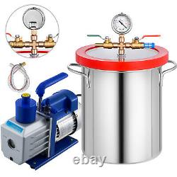 5 Gallon Vacuum Chamber Stainless Steel Degassing Silicone Kit 5cfm Pompe À Vide