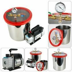 Chambre À Vide 5gallon 3cfm Pompe Monophasée Dégazage Machine À Silicone 21l Kit