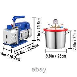 Chambre À Vide Vevor 2 Gallon Et 3 Pompes Monophasées Cfm Pour Le Dégazage De La Silicone