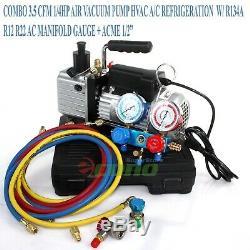 Combo 3,5 Cfm Vacuum Pump R134a R12 Hvac Collecteur Gauge 4 Service De Réfrigération