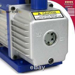 Combo 3,5cfm 1 / 4hp Air Pompe À Vide CVC + R134a Kit Ac A / C Manomètre Oi