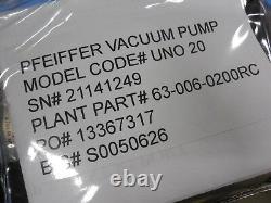 Compact Pfeiffer Uno 20 Rotatif Vane Vacuum Pump 1hp 15 Cfm 3 Phase 460v 3f