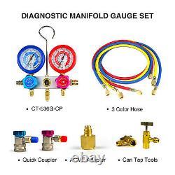 Favorcool 3cfm 1/4hp Vacuum Pump Ac Manifold Gauge Set Combo Pour R410a R134a R22
