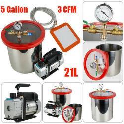Fda 5 Gallon Chambre De Dégazage Kit Silicone 3cfm Pompe À Vide Tuyau Ca