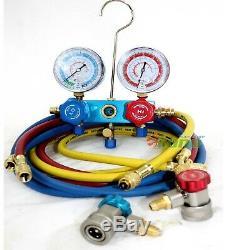 Hvac A / C Refrigerant Ac Kit Pompe Withvacuum, R134a R12 Manomètre & Scale
