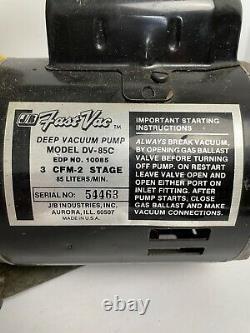 Jb Industries Pompe À Vide Rapide À Vide Profonde Dv-85c 3 Cfm 2 Étape 1/3 HP Refrig Evac