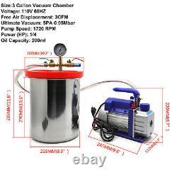 Kit 3 Gallon Vacuum Chamber Degassing Silicone Set 3cfm Pump Single Stage 1/4hp Kit