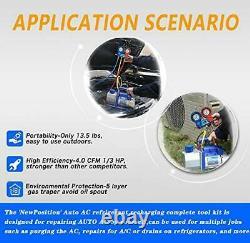 Newposition 4cfm 1/3hp Pompe À Vide D'air CVC A/c Kit D'outils De Réfrigération Acauto