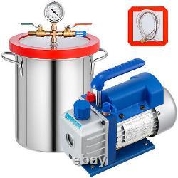 Pompe À Vide 3cfm 3 Gallon Vacuum Chamber Dégazage 60hz Acier Inoxydable