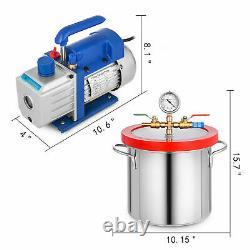 Pompe À Vide 3cfm Supportant Une Combinaison De Fûts En Acier Inoxydable À 2 Gallons