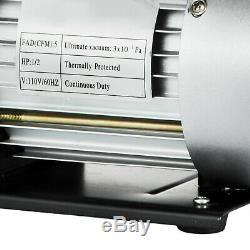 Pompe À Vide À Deux Phases Rotary Vane 5cfm 1 / 2hp Profonde Cvca Ac Air Outil Noir Nouveau