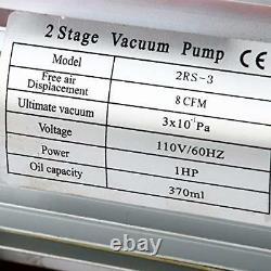Pompe À Vide Rotative À Fourgon À Deux Étages 8cfm (0.3pa, 1hp) Pour Réfrigérant Cvc/auto-ac