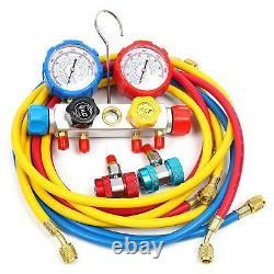 R134a R22 4.8 Cfm 1/3hp Air Vacuum Pump Single Stage + 4 Tuyaux 4 Valve Gauge Set