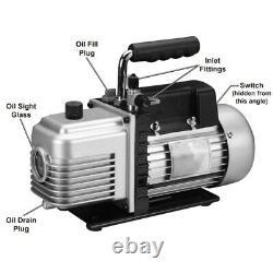 Réfrigération Pompe À Vide À Deux Étages 3cfm Ac Air Manifold CVC R134a R12 R22