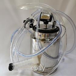Regulated Goat Bucket Milker Machine 5.5 Cfm Piston Vacuum Pump Bucket Pulsator