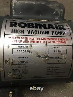 Robinair High Vacuum Pump Model# 15102b Cvc, 3 Cfm- Pour Les Pièces Seulement