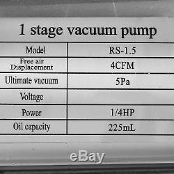 Tubulure Double Jauge 4 Valve R404a R410a R22 A / C Avec Pompe À Vide Hvac 4cfm Kit MX
