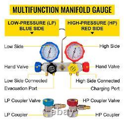 Vevor 3.6cfm 1/4hp Pompe À Vide 4 Soupapes Manifold Gauge R12 R22 R134a R410a