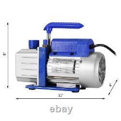 Vevor 4 Cfm 1 / 4hp Air Pompe À Vide Hvac + R134a Kit Ac A / C Manomètre Grande